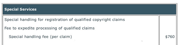 Special handling for registration of qualified copyright claims fee to expedite processing of qualified claims special handling fee per claim $700